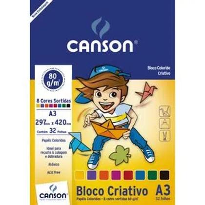 Bloco Criativo A3 80g/m² 8 cores 32 folhas Canson