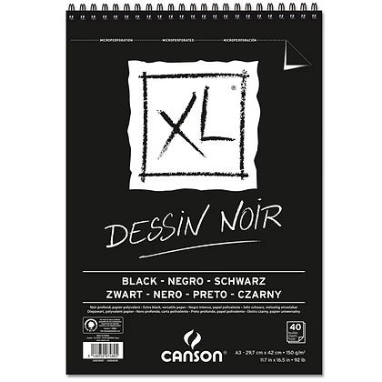 Bloco Espiralado Canson XL® Dessin Noir Black 150g/m² A3 29,7 x 42cm com 40 Fls