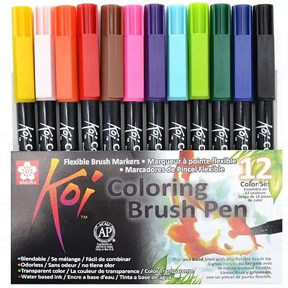 Marcador Koi Coloring Brush Sakura com 12 Cores
