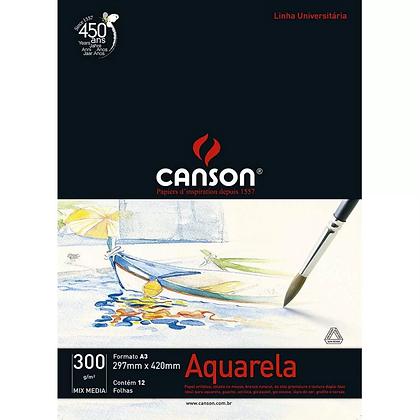 Bloco aquarela A3 300g Canson 12fls