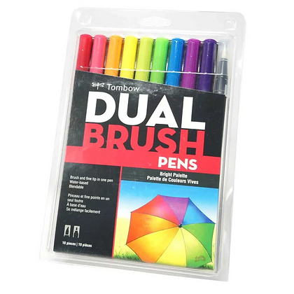 Marcador Tombow Dual Brush Cores Brilhantes Com 10 Unidades