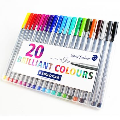 Estojo caneta pigment liner staedtler 20 cores brilhantes