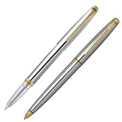 Conjunto Caneta Esferográfica + Tinteiro Orient Prata YW49450S Crown
