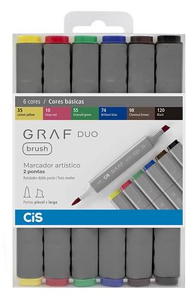 Marcador Graf Duo Brush 6 cores Básicas Cis