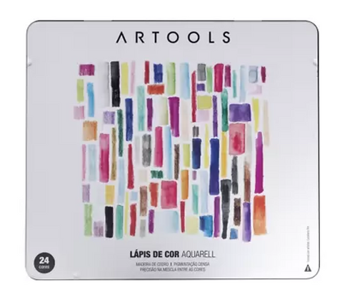 Lápis Aquarelável Artools Aquarell – Estojo Metálico com 24 cores