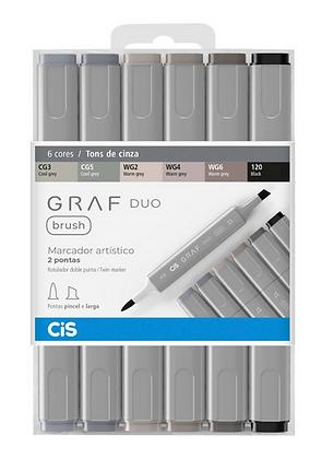 Marcador Graf Duo Brush 6 cores Tons de Cinza Cis