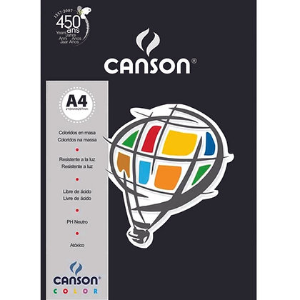 Papel Canson Color A4 180g/m² - Preto - 50fls