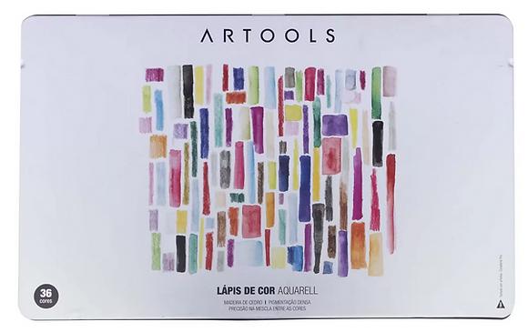 Lápis Aquarelável Artools Aquarell – Estojo Metálico com 36 cores