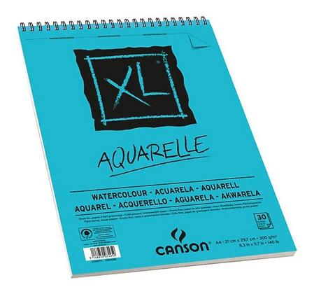 Bloco Espiralado Canson XL® Aquarelle 300g/m² A4 21 x 29,7 cm com 30 Folhas – 40