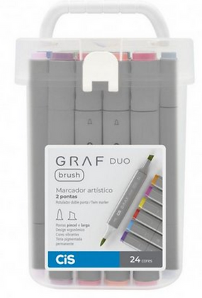 Marcador Graf Duo Brush 24 cores Cis