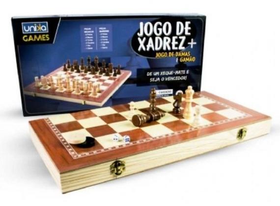 Jogo Xadrez Damas e Gamão 3 Em 1 Unika Games 29cm