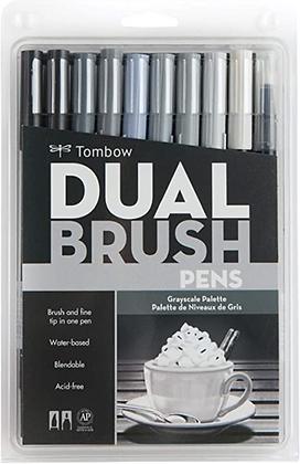 Marcador Tombow Dual Brush Tons de Cinza Com 10 Unidades
