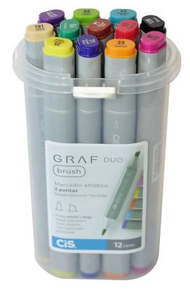 Marcador Graf Duo Brush 12 cores Cis