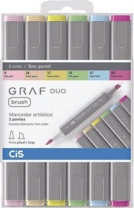 Marcador Graf Duo Brush 6 cores Pastel Cis