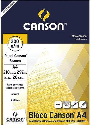 Bloco desenho A4 branco 200g 20 fls Canson