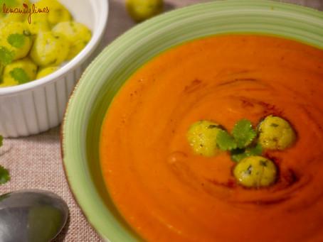 Rajská polévka s polento-bazalkovými noky