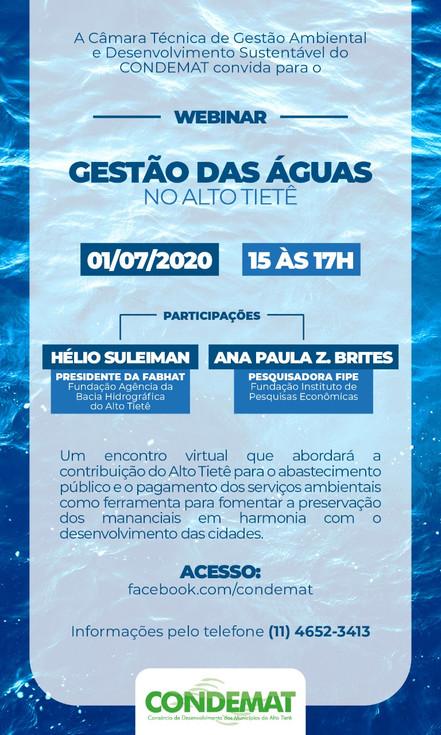 CONDEMAT promove webinar sobre gestão das águas