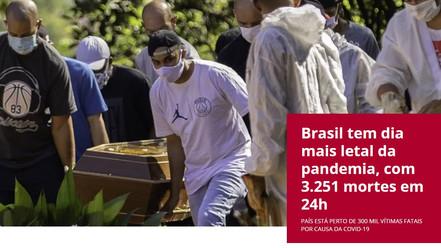 Brasil volta a bater recorde e tem dia mais letal da pandemia, com 3.251 mortes em 24h