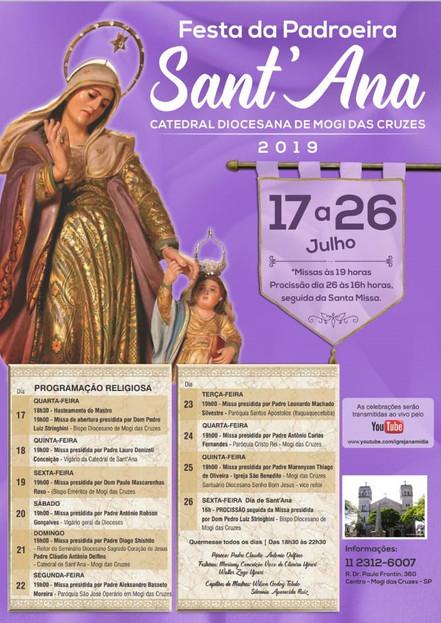 Diocese de Mogi das Cruzes celebra a padroeira Sant'Ana a partir de amanhã, dia 17