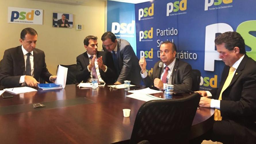 Deputado participou de mais uma reunião com o secretário especial  da Previdência, Rogério Marinho, na sede do PSD Nacional, em Brasília