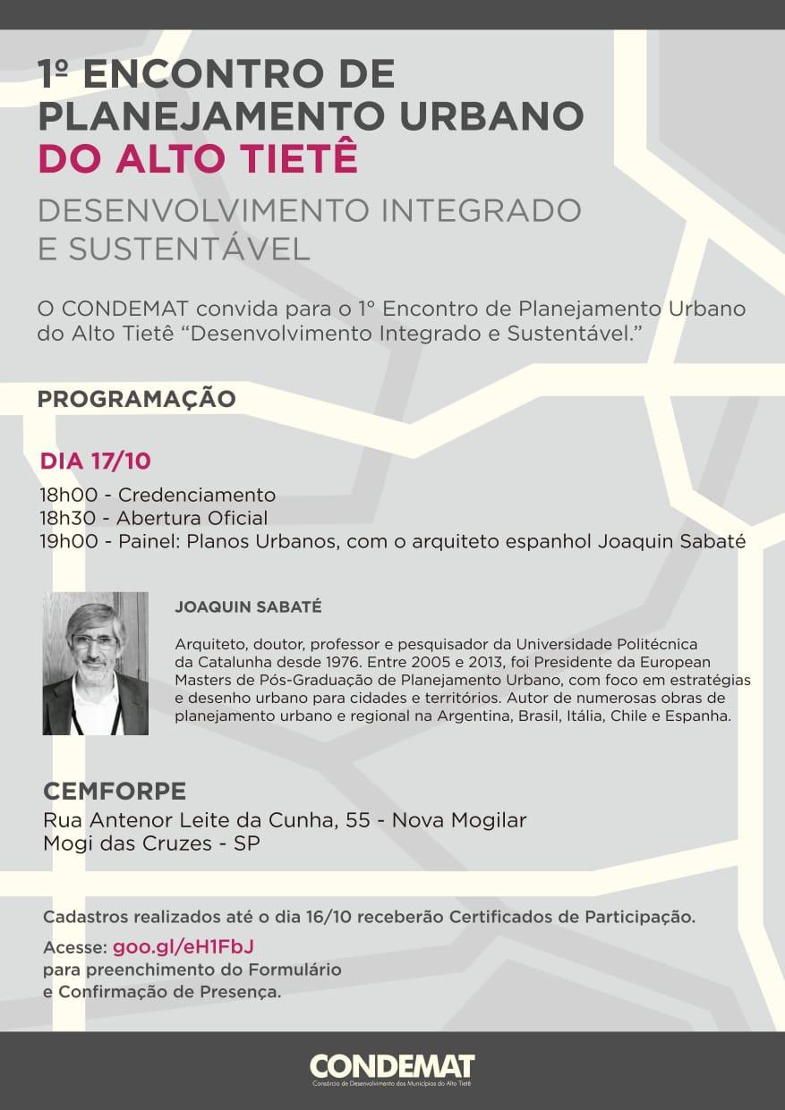 Evento no Cemforpe terá a participação do arquiteto espanhol Joaquin Sabaté e marca início dos trabalhos para o Plano de Desenvolvimento Regional