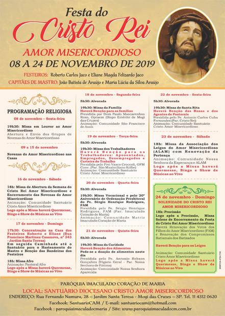 Santuário Diocesano Cristo Amor Misericordioso celebra o padroeiro