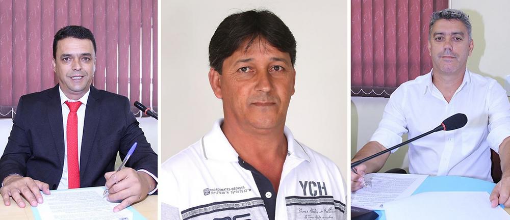 ; Paulo Rogério dos Santos - PTB, José Rodrigues Lares - PV, Eduardo Melo - DEM, Respectivamente