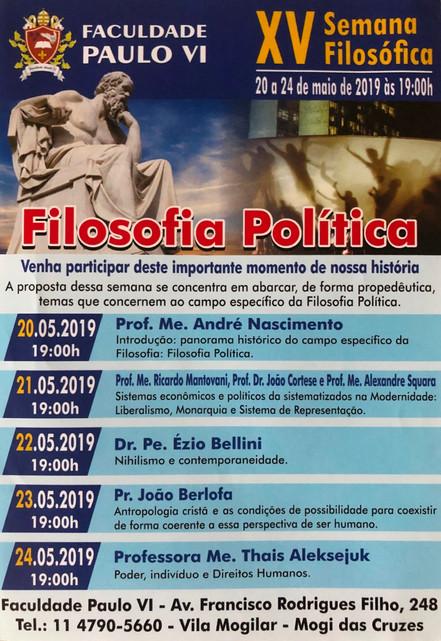 Faculdade de Filosofia e Teologia Paulo VI promove a XV Semana Filosófica