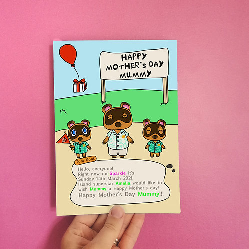 Animal Crossing Mothers Day Card