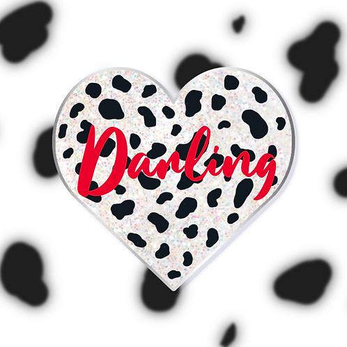 PREORDER - Dalmatian Print Heart Enamel Pin