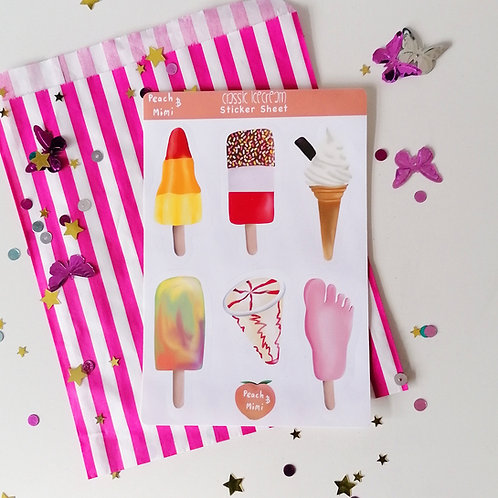 Ice cream and Lollies Sticker Sheet