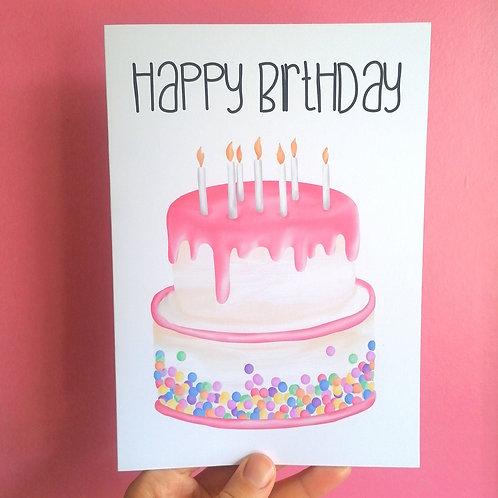Pink Sprinkle Cake Birthday Card