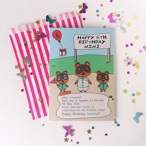 Animal Crossing Birthday Card