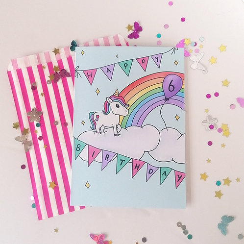 Unicorn and Rainbow Birthday Card