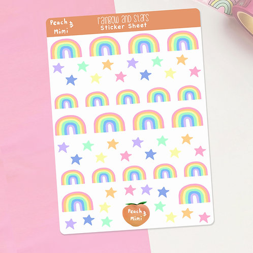 Rainbow and Stars Planner Stickers