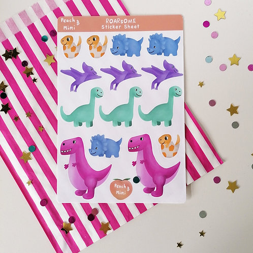 Cute Dinosaur Sticker Sheet