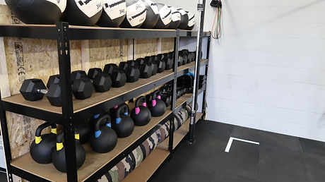 wall balls, kettlebells, dumbells
