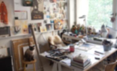 konst, målningar, foto, palett, Guggenheim, handskar, katt, penslar.