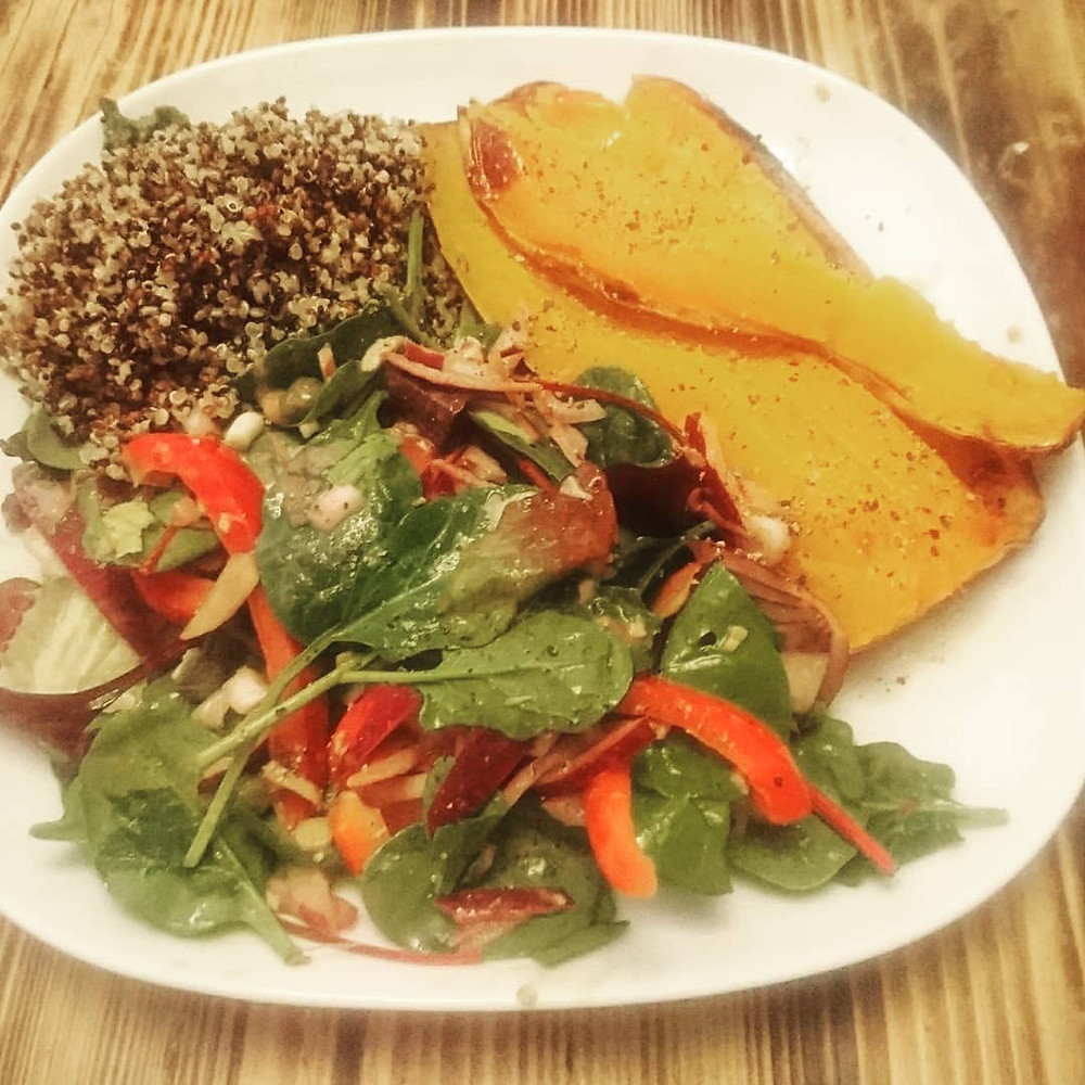 Roasted Butternut Squash with Salad and Rice