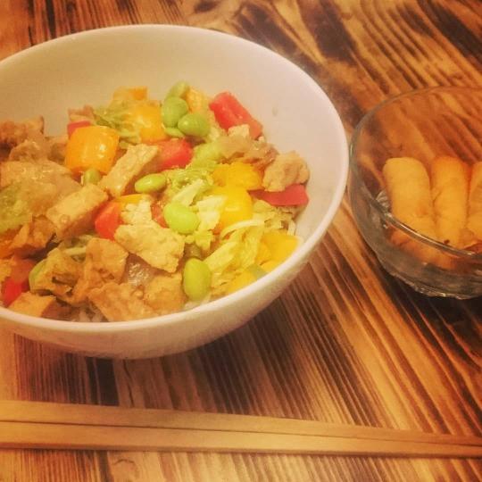 Tasty vegan stir fry and vegan spring rolls