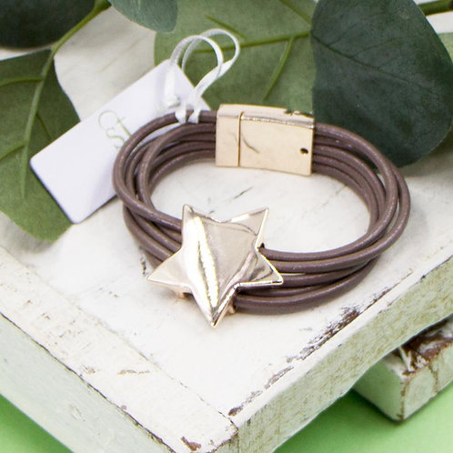Multi strand leather bracelet with Star  in rosé Gold or Silver