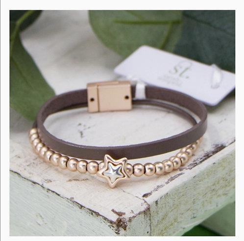 Super Star leather strap bracelet