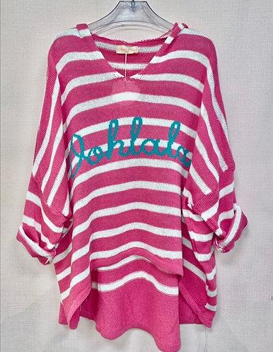 Oohlala hooded stripe knit in (cerise)