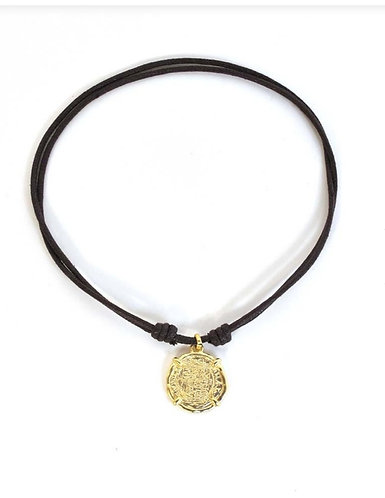 Gold Coin on Leather Neck Lace