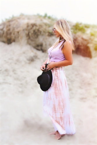 The Bali tie-dye skirt in coral