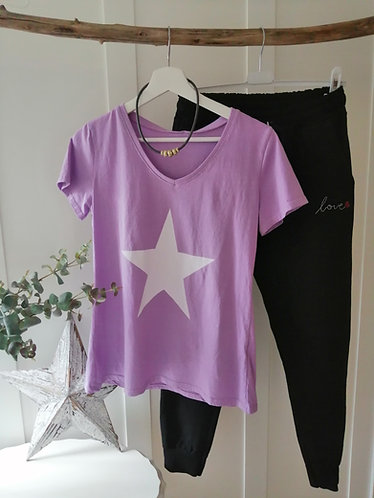 Lilac tee with white star