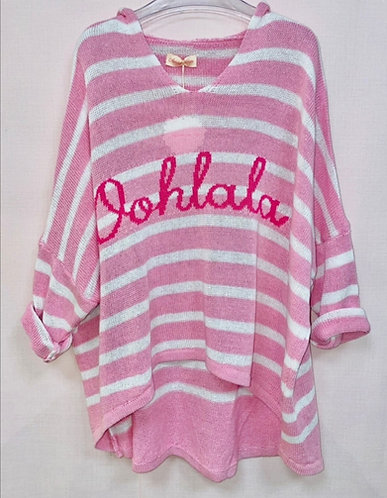 Oohlala hooded stripe knit in (candy)
