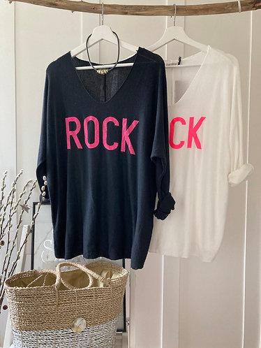 'ROCK' fine knit jumper in Black or White