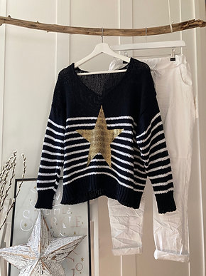 Bretton Stripe with Star jumper in White or Black