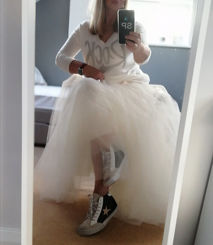 Tulle Maxi Skirt ( in ecru)
